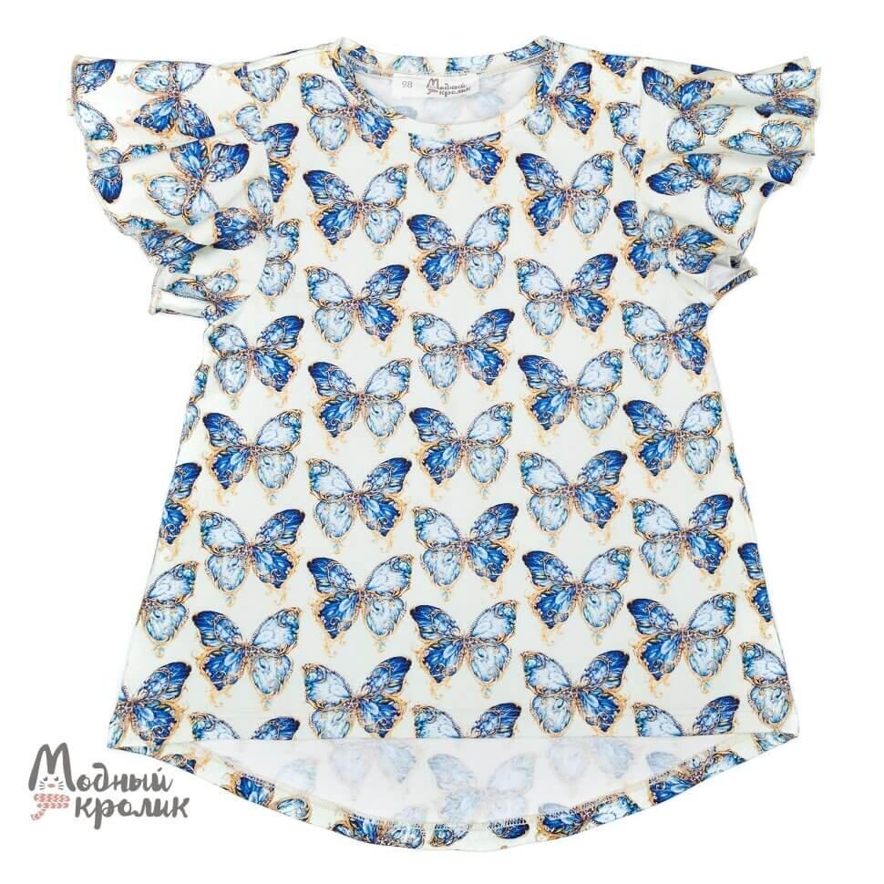 Белая трикотажная блузка с принтом