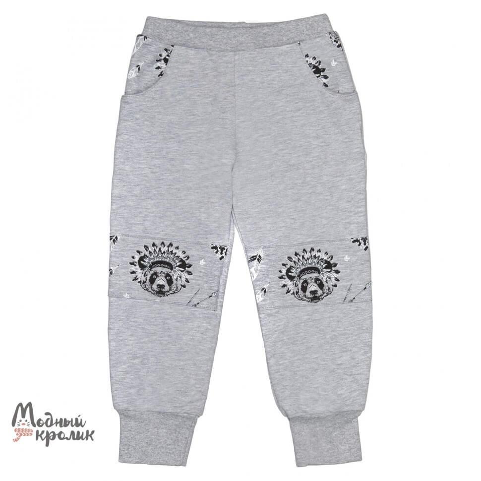Серые трикотажные брюки на резинке