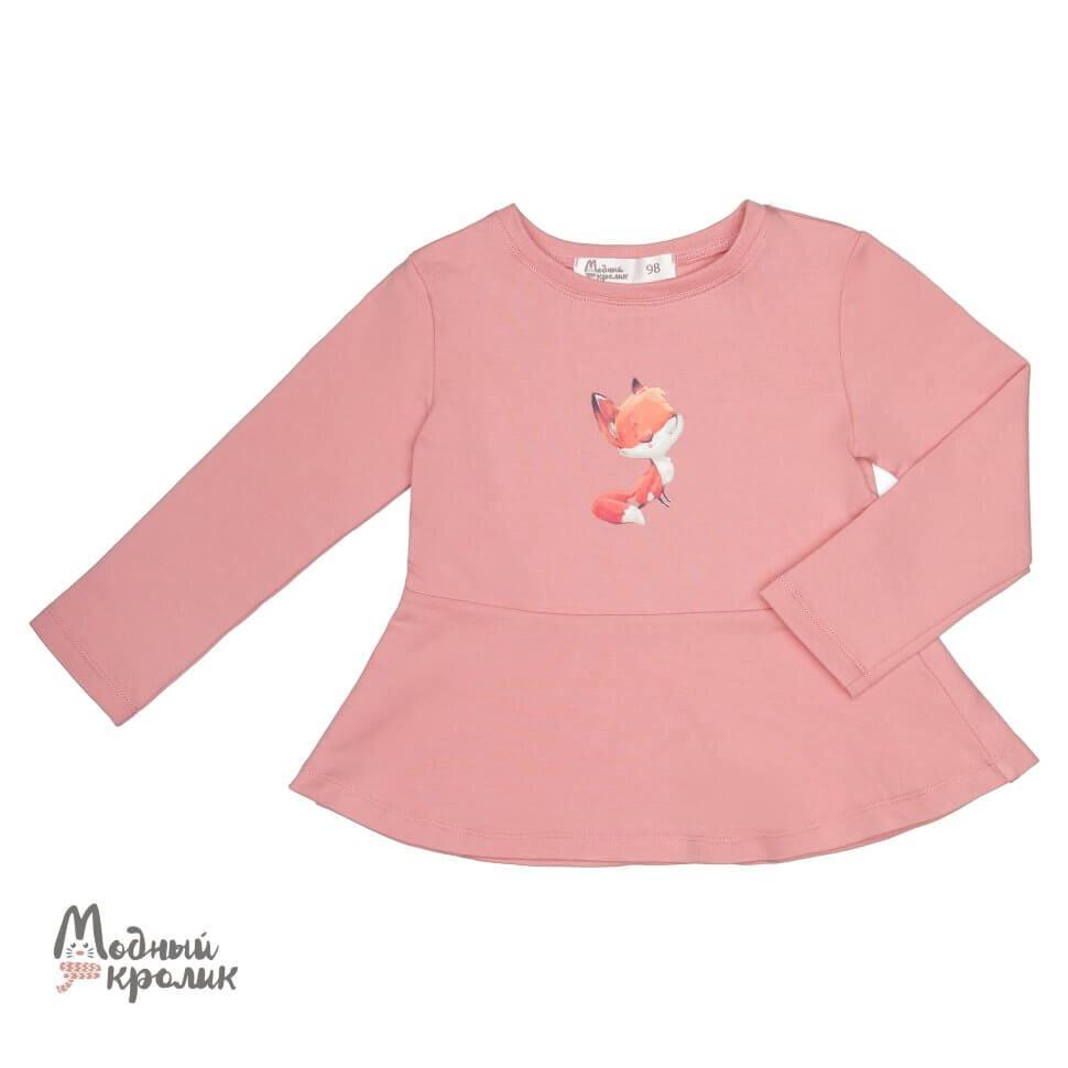 Розовая трикотажная блузка с рисунком