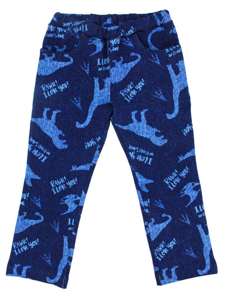 Синие трикотажные брюки с принтом