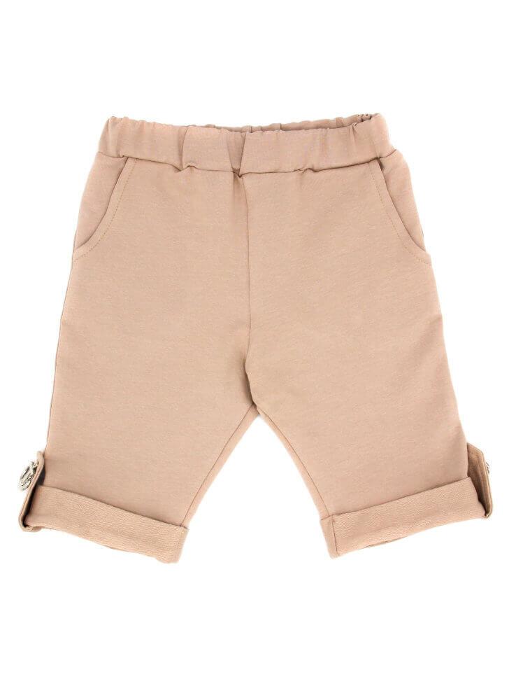 Бежевые трикотажные шорты с карманами