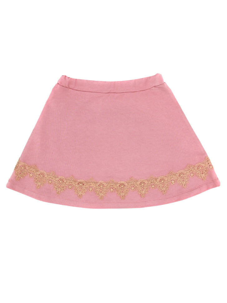 Розовая трикотажная юбка с кружевом