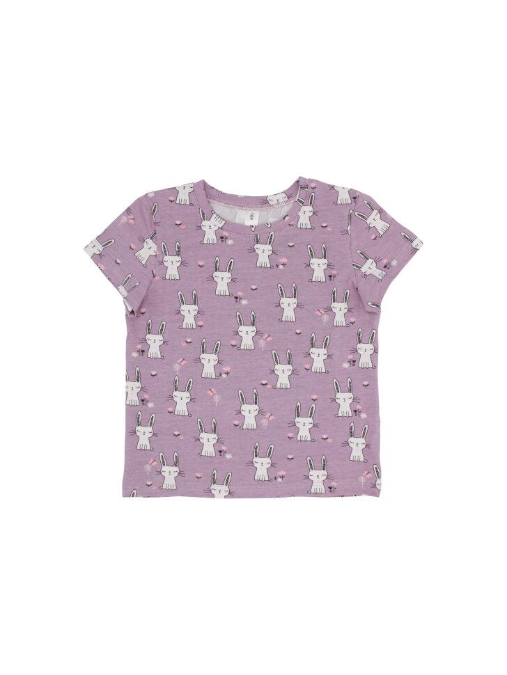 Розовая трикотажная футболка с принтом