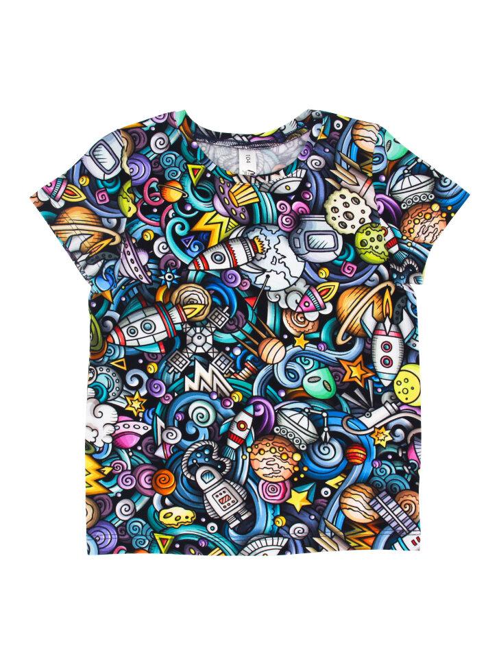 Разноцветная трикотажная футболка с принтом