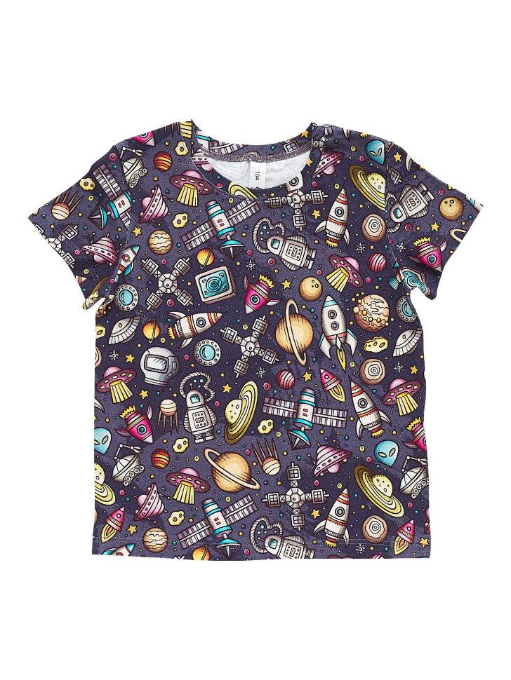 Серая трикотажная футболка с принтом