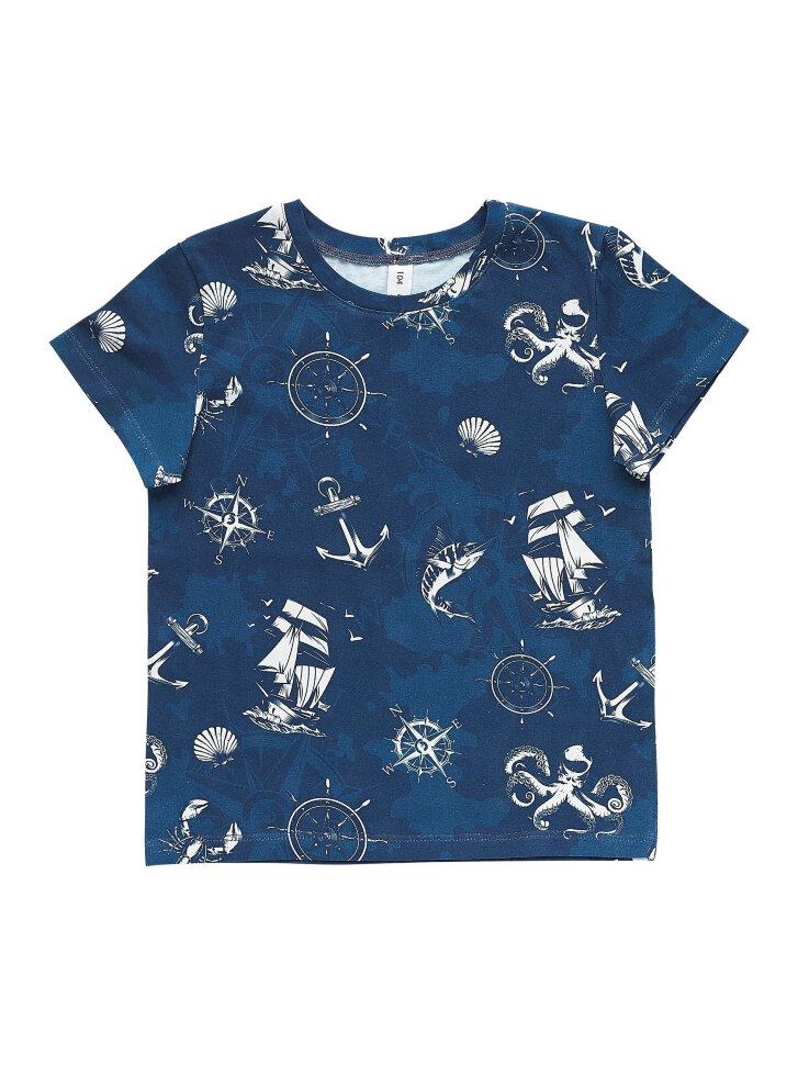 Синяя трикотажная футболка с принтом