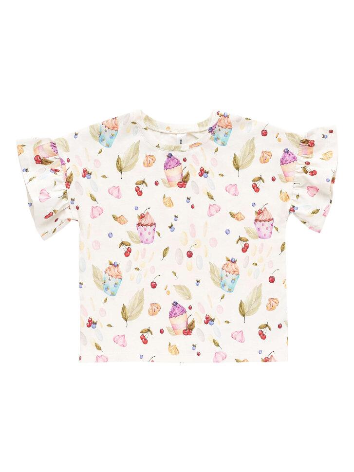 Белая трикотажная футболка с принтом