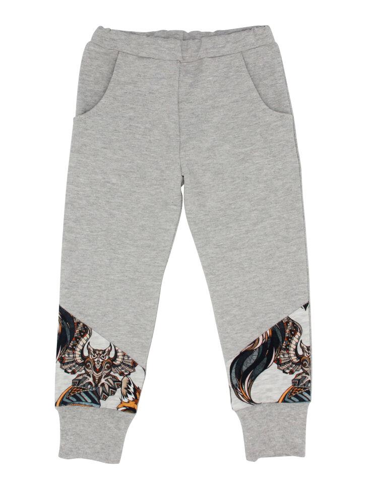 Серые трикотажные брюки со вставками