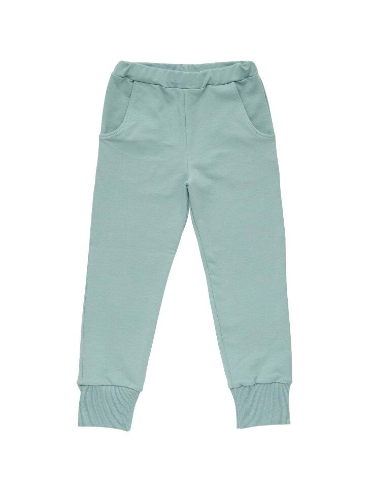 Светло-зеленые трикотажные брюки на резинке