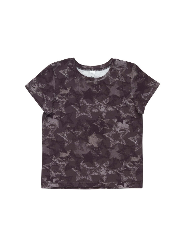 Черная трикотажная футболка со звездами