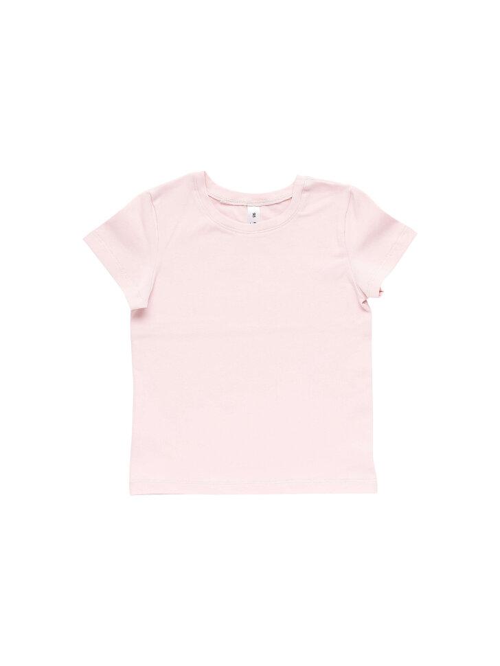 Однотонная розовая трикотажная футболка
