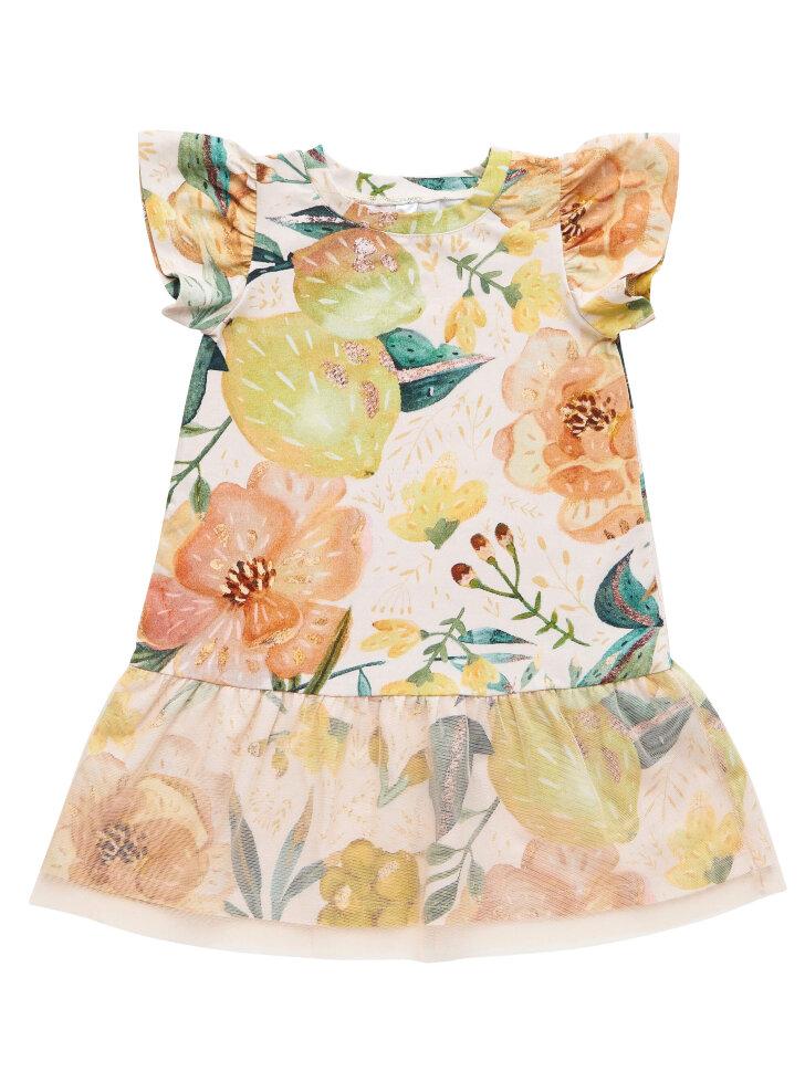 Tрикотажное платье с принтом и фатином